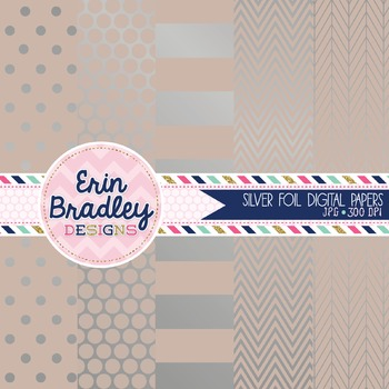 Digital Papers - Silver Foil and Beige