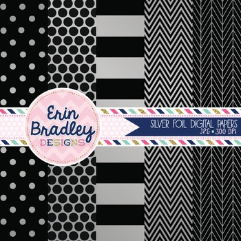Digital Papers - Silver Foil and Black