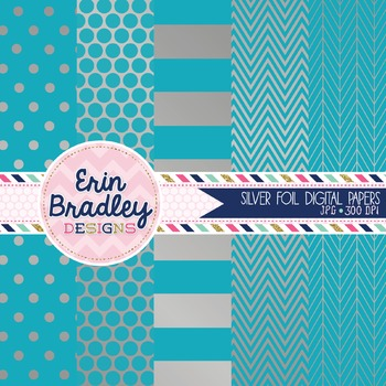 Digital Papers - Silver Foil and Blue