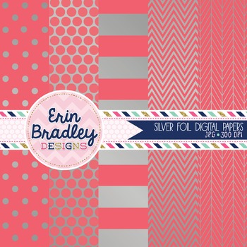 Digital Papers - Silver Foil and Coral