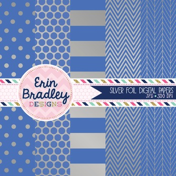 Digital Papers - Silver Foil and Cornflower Blue