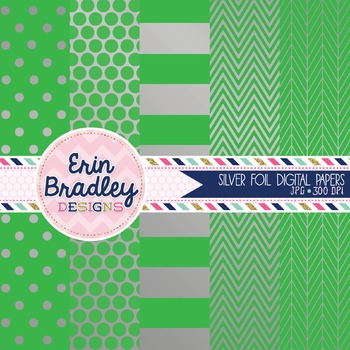 Digital Papers - Silver Foil and Green