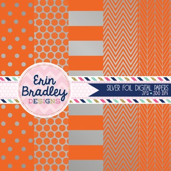 Digital Papers - Silver Foil and Orange