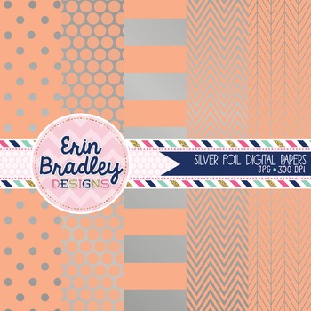 Digital Papers - Silver Foil and Peach