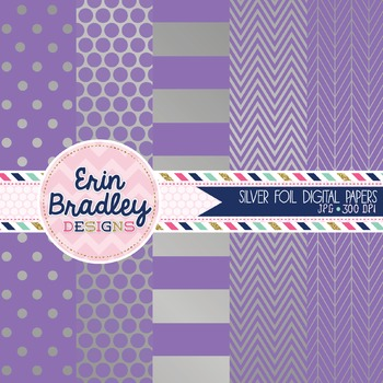 Digital Papers - Silver Foil and Purple