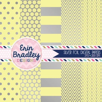 Digital Papers - Silver Foil and Yellow