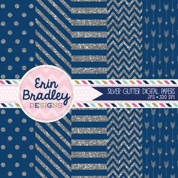 Digital Papers - Silver Glitter and Blue