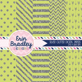 Digital Papers - Silver Glitter and Lime