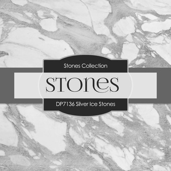 Digital Papers - Silver Ice Stones (DP7136)