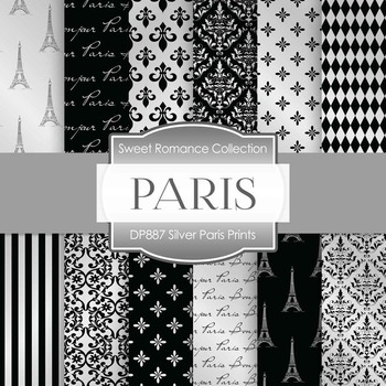 Digital Papers - Silver Paris Prints (DP887)