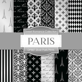 Digital Papers - Silver Paris Prints (DP887)