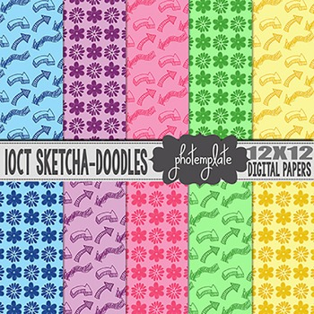 Digital Papers: Sketched Hearts and Arrows Scrapbooking Paper