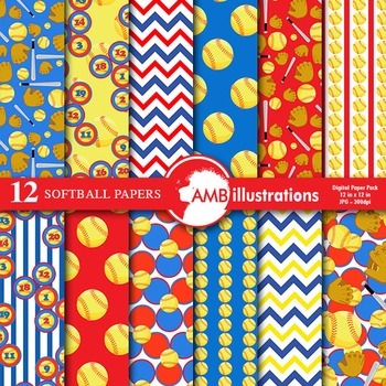 Digital Papers - Softball digital paper, AMB-822