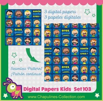 Digital Papers Sonríe Sueña Crea Eres genial seamless pattern kids Set 103