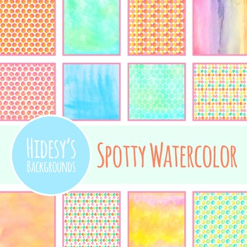 Digital Papers Spotty Watercolor Backgrounds Clip Art Pack Commercial Use