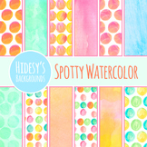 Digital Papers Spotty Watercolor Backgrounds Clip Art Pack