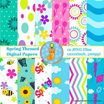 Digital Papers Spring Flowers Bees Polka Dots