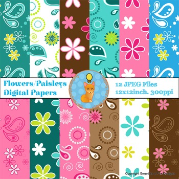 Digital Papers Spring Flowers and Paisley