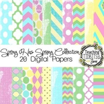 Digital Papers - Spring Themed Colors Personal and Commercial Use