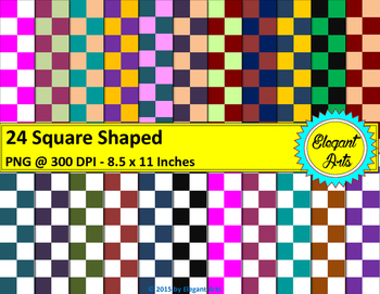 Digital Papers - Square Dots with White / Colorful Backgrounds