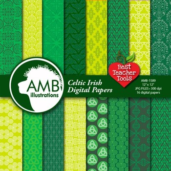 Digital Papers, St. Patrick's Day, Celtic, Irish Papers and Backgrounds AMB-1589