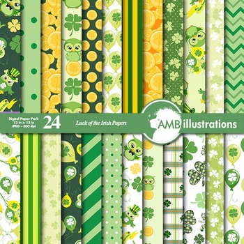 Digital Papers, St. Patrick's Day, Irish papers and backgrounds AMB-826