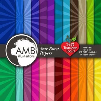 Digital Papers, Star Burst Pattern Digital Paper { Best Teacher Tools } AMB-1350