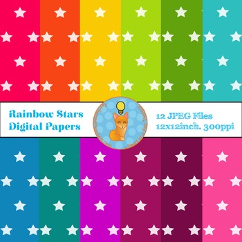 Digital Papers Star Rainbow Backgrounds