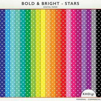 Digital Papers - Stars - Bold and Bright Collection