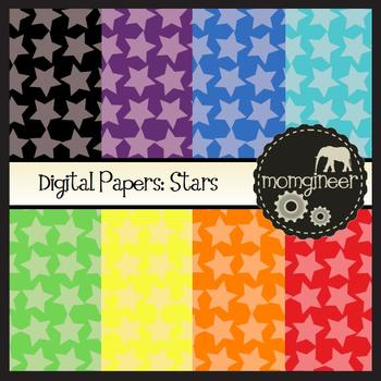 Digital Papers: Stars in Bold Colors (Commercial Use Graphics)