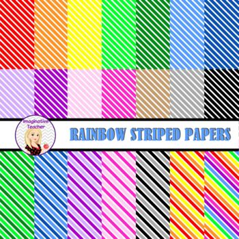 Digital Papers - Striped Rainbow