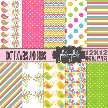 Digital Papers: Summer Flowers and Birds Scrapbooking Paper