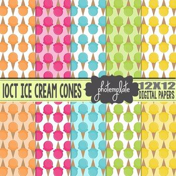 Digital Papers: Summer Ice Cream Cones Scrapbooking Paper