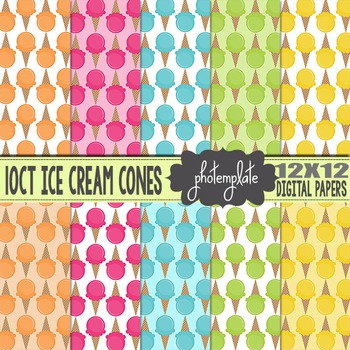 Digital Papers: Summer Ice Cream Cones Scrapbooking Paper