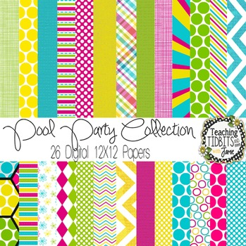 Digital Papers - Summer Pool Party Collection {Personal or Commercial Use}