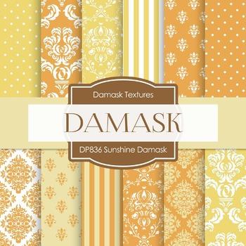 Digital Papers - Sunshine Damask (DP836)