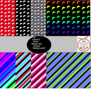 Super Sassy Mustache and Stripes backgrounds! 8 Papers {personal or commercial}