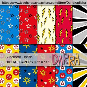 Digital Papers Superhero Classic
