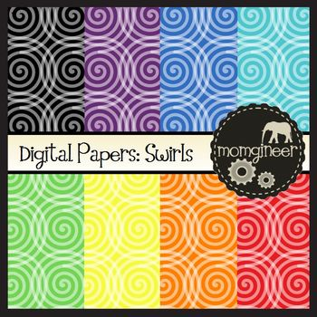 Digital Papers: Swirls in Bold Colors (Commercial Use Graphics)