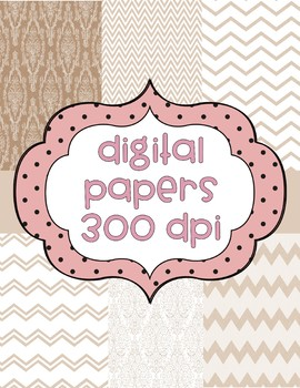 Digital Papers Tan/Beige/Chevron/Damask- 6 total