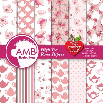 Digital Papers, Tea Party Party, Valentines Day Digital Paper, AMB-1191