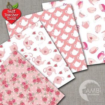 Tea Time Digital Papers, Tea Party Party, Valentines Day Digital Paper, AMB-1190