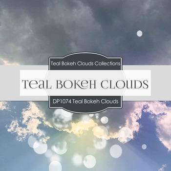 Digital Papers - Teal Bokeh Clouds (DP1074)