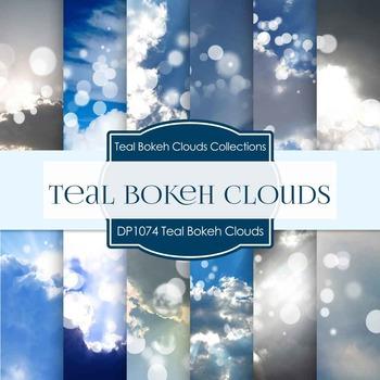 Digital Papers - Teal Bokeh Clouds (DP1074)