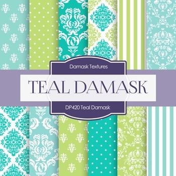 Digital Papers - Teal Damask (DP420)
