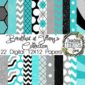 Digital Paper - Teal, Gray, and Black Collection {Personal
