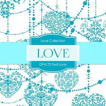 Digital Papers - Teal Love (DP4172)