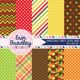 Digital Papers Thanksgiving Holiday Red Orange Brown Yellow Background Patterns