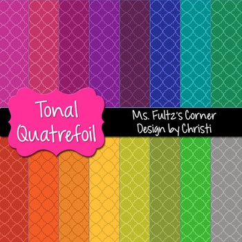 Digital Papers: Tonal Quatrefoil
