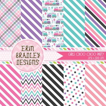 Digital Papers - Train Birthday Party